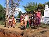 Waving good-bye - school children at pottery-making village on Inle Lake