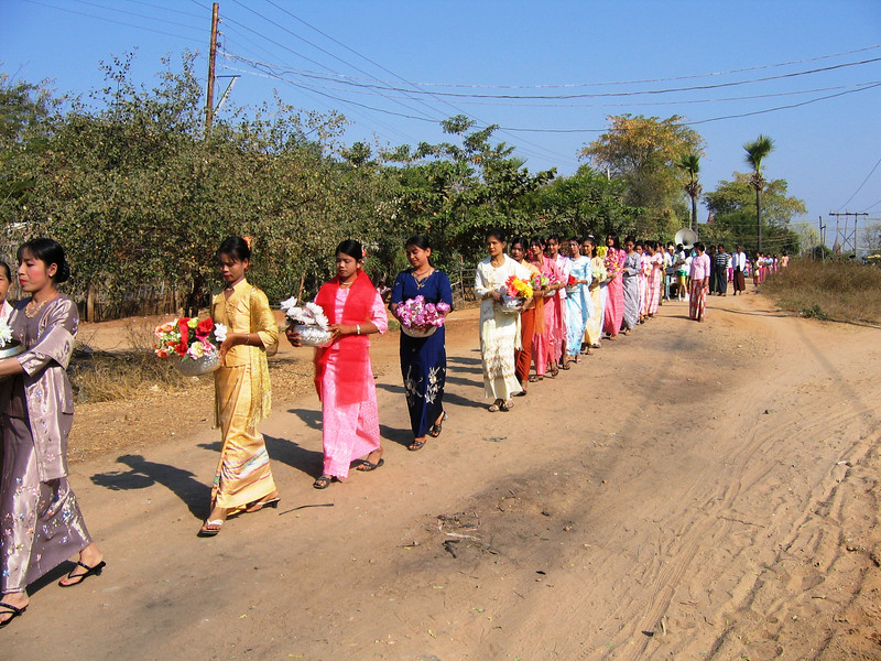 Buddhist procession, Old Bagan