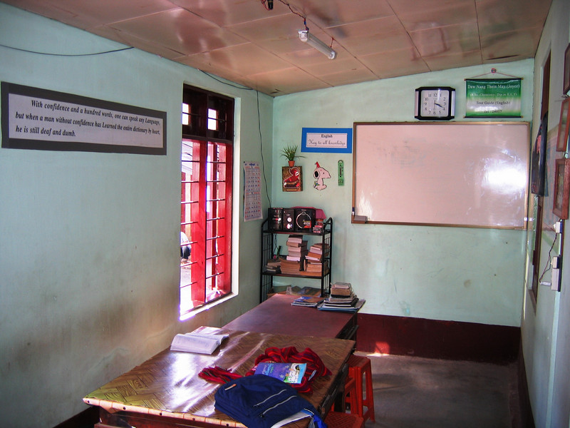 School room in Joyce's Taunggyi family complex where she tutors students in English
