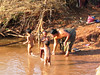 Mother and children bathing along the road from Taunggyi to Inle Lake