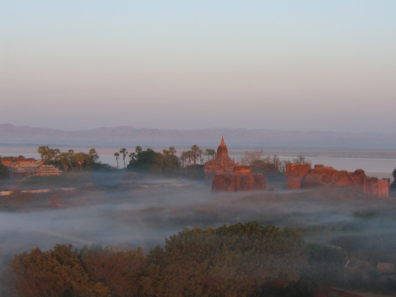 Morning mist and Bagan temples from our balloon