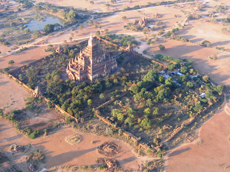 Sulamani Pagoda, Bagan as seen from our balloon