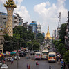 A view of Yangon showing Sule Pagoda at the end of the avenue, center right. by Jook