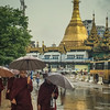 Monks in the rain at Sula Pagoda