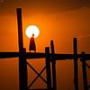 U Bein bridge at sunset w/monk