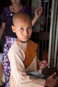 Young Buddhist Nun at Yangon Market