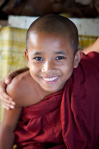 Young Monk at Reclining Buddha at Chaukhtatgyi Paya, Yangon