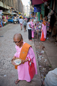 Yangon Market and Buddhist Nun