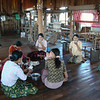 taking a break at the silk and lotus weaving factory
