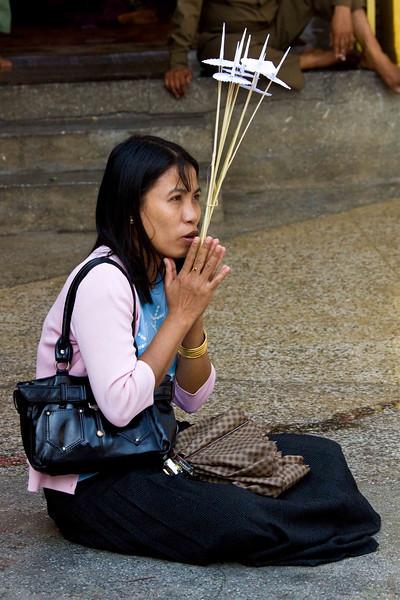 Sule Paya Worshiper