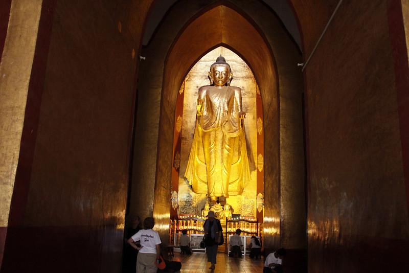 Inside Anana Maha, One of Four Gold-leafed Bronze Buddha Statues
