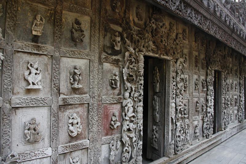 """World's Biggest Book"" Monastery-250 Year-old Teak Carvings"