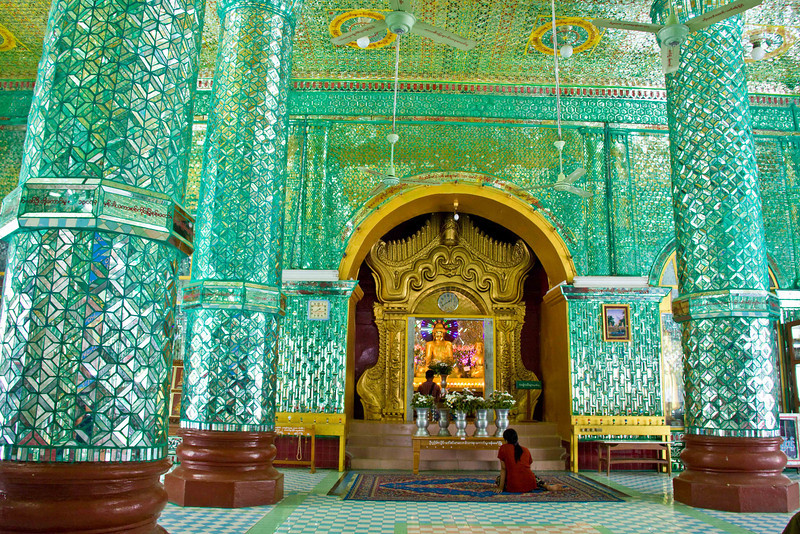 Kaunghmudaw Paya in Sagaing. (Interior covered with small mirrors with green grouting.)
