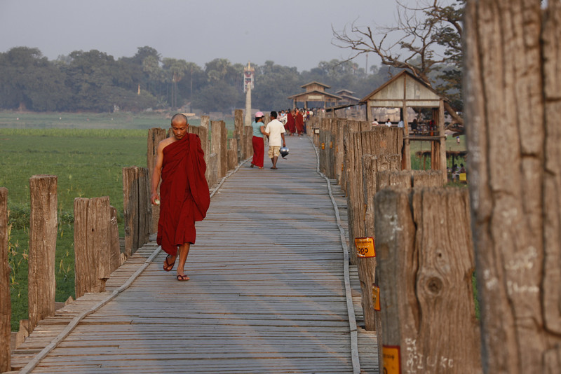 U Bein's (Teak) Bridge Mandalay. World's longest all-teak bridge. (1.2 km)