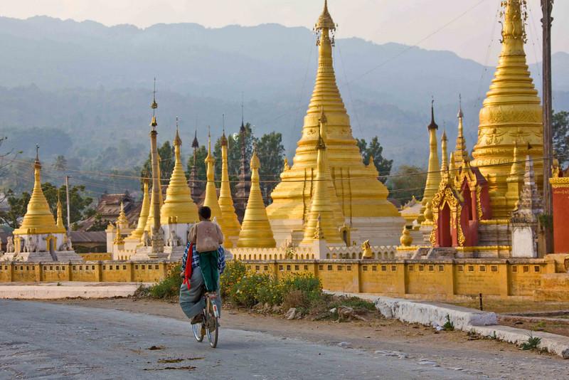 Bicycling Past Shwe U Min Paya in Pindaya