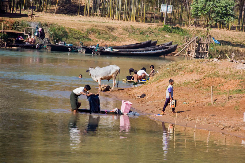 Life on a River Feeding Inle Lake