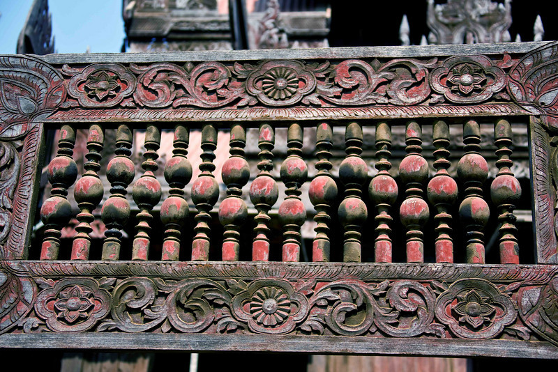 250 year-old teak carvings at Youqson Kyaung Monastery in Salay