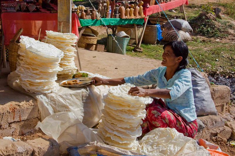 Rice Cakes for Sale at Sunday Market at Village of Kyaing Kan on Inle Lake