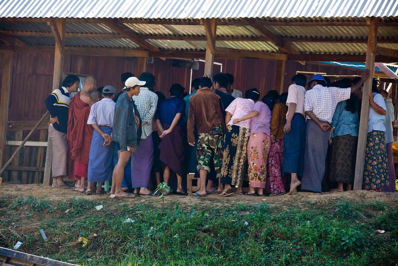 Gambling (Gasp!) at Sunday Market at Village of Kyaing Kan on Inle Lake