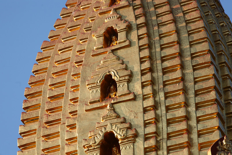 Close-up of the Buddha images in the spire.