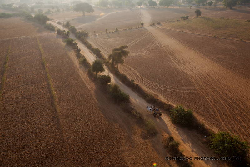 Dusty roads and fields of the dry season in Bagan.
