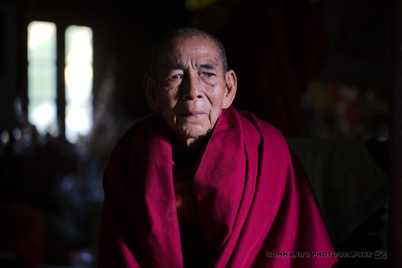 The senior monk has his portrait taken.