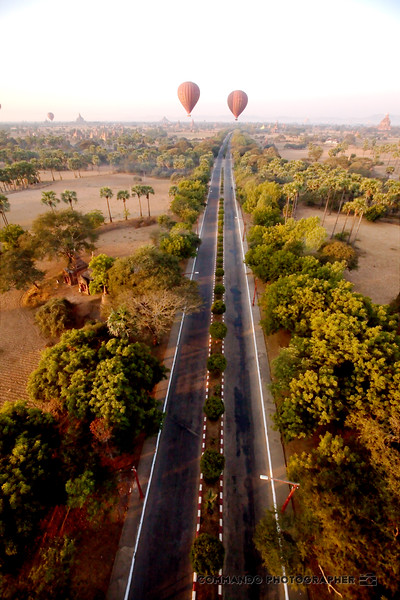 The road to the temples from the air.
