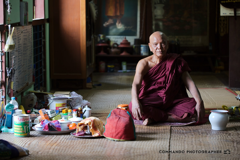 A monk sits in repose.