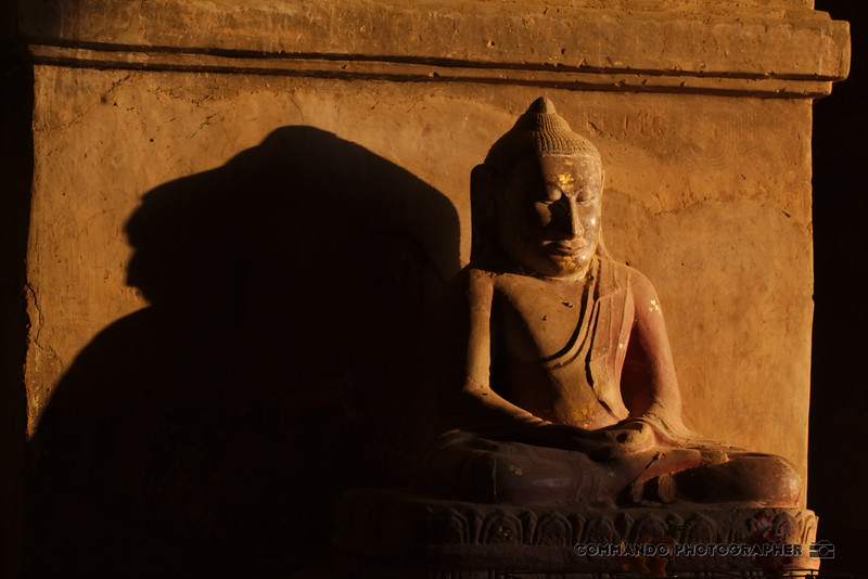 A Buddha statue casts a long shadow in the morning light.