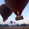 A procession of balloons make their way across the Bagan landscape.