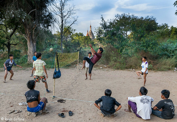 A late afternoon game near the Gawdawpalin Pahto, Bagan, Myanmar, 28 January 2014