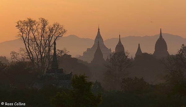 Sunrise view over Bagan, Myanmar, 30 January 2014
