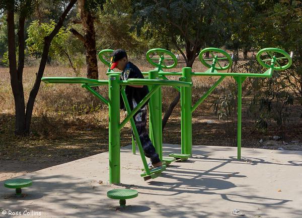 Public exercise equipment in Anawratha Road, Bagan, Myanmar, 2 February 2013