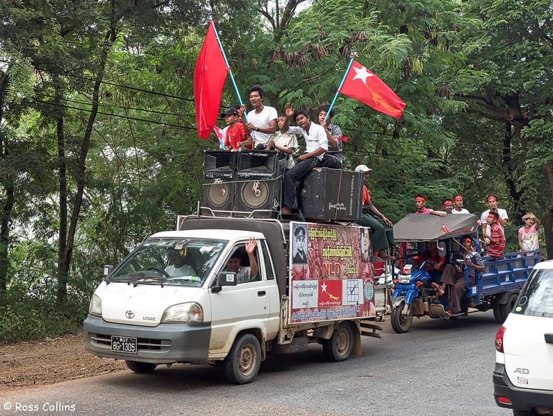 NLD Parade near Pyay, Bago Region, Myanmar, 27 October 2015