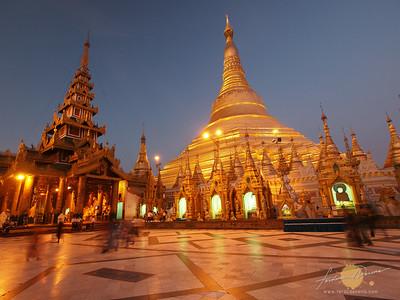 Shwedagon Pagoda Twilight Glow