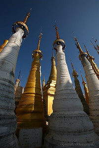 A forest of stupas with their bell laden crowns.