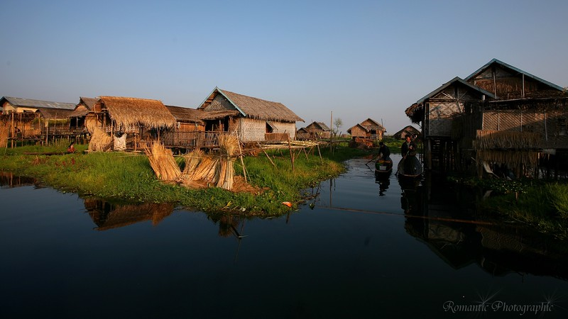 Ywama village is made primarily of bamboo houses on stilts.