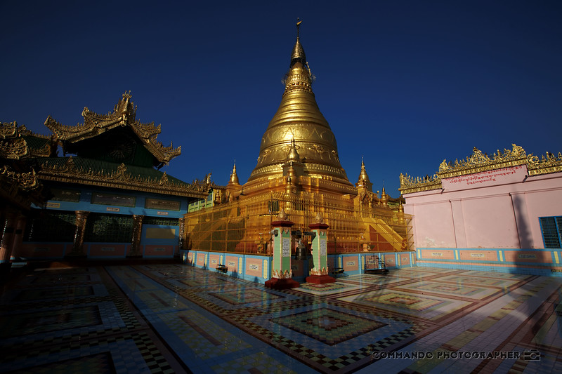 The gold Padamya Zedi on the peak of the highest hill in Sagaing.