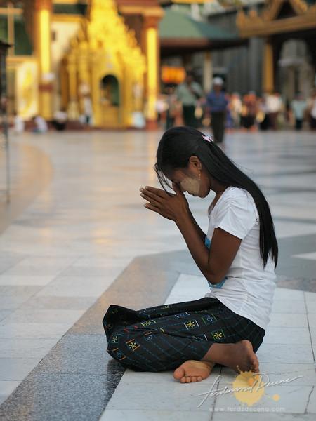 A devotee in solemn prayer