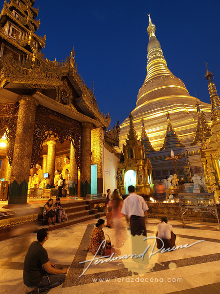 The Shwedagon Stupa is made up of thick layers of Gold Leaf