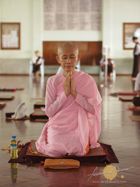 A nun deep in meditation