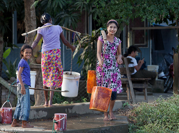 Collecting Water at Dalah, Myanmar, 9 February 2014