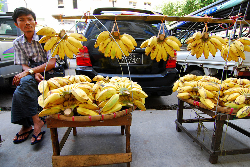 Selling bananas in Yangon.