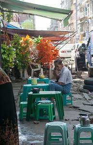 Street food stall, Yangon