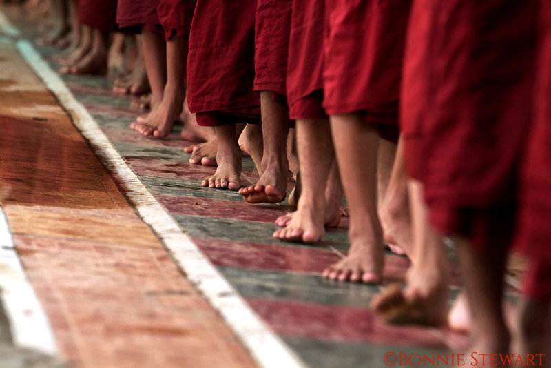 Monks lining up for their mid-day meal