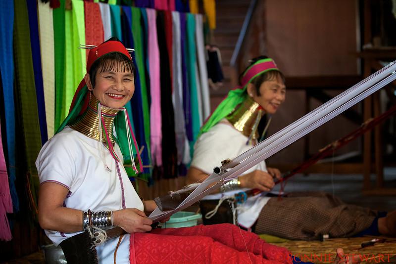 Long neck tribe ladies weaving,  Inle Lakes