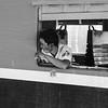 Man at carriage window Burmese railway