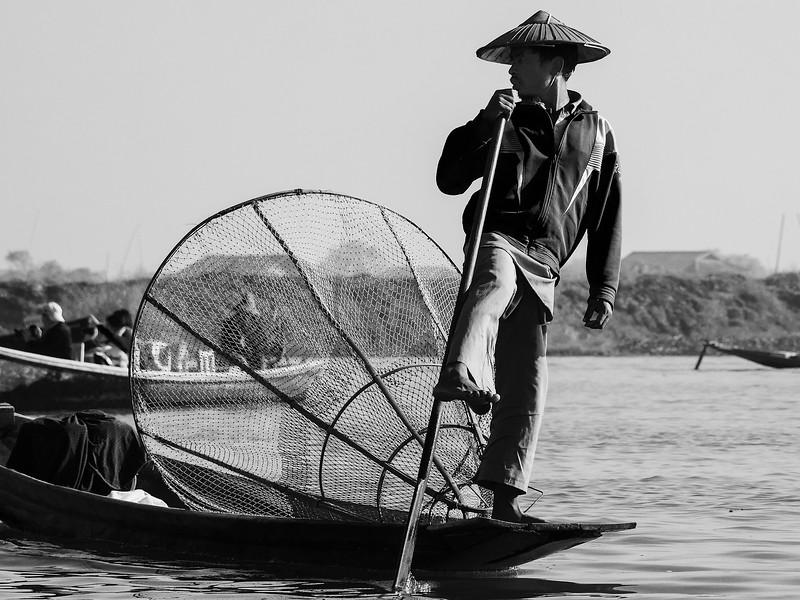 Rowing Action Inle Fisherman