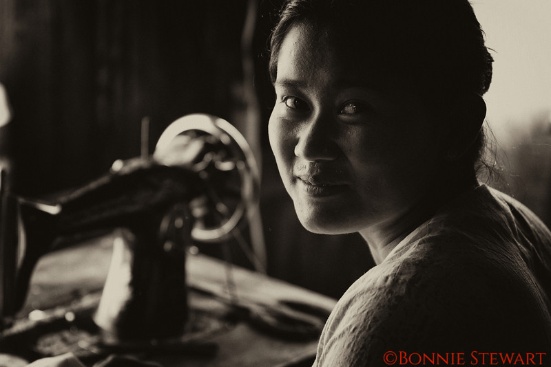 Seamstress in traditional factories
