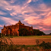 Ancient temple at sunset in Bagan where over 4,000 temples dot the landscape